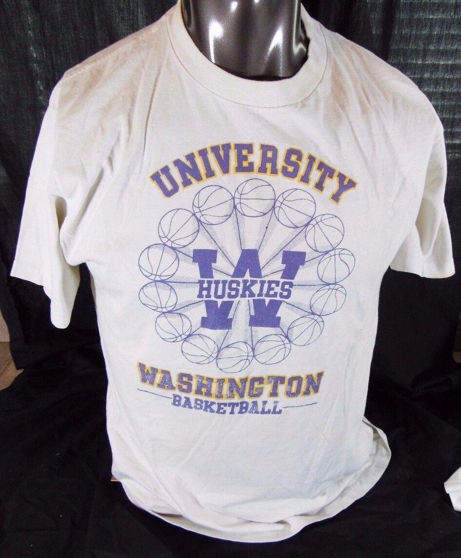 Vintage UW University Of Washington Huskies Basketball Men's T Shirt Large L