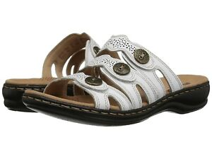 2abaa35a4 Clarks LEISA GRACE Womens White Leather 34082 Slide Comfort Sandals ...
