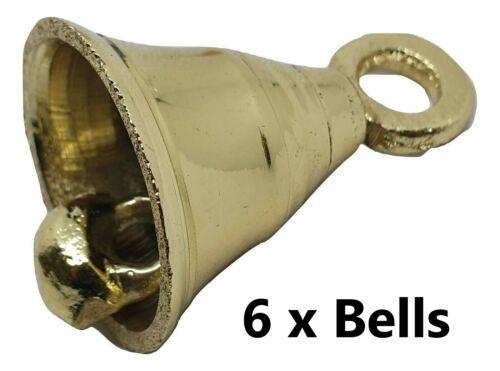 "6 x Vintage Style Brass Bell Antique Bells Pooja 2"" Height Prayer Bell Windchime"