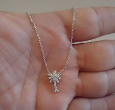 925 STERLING SILVER PALM TREE NECKLACE PENDANT W/ .50 CT ACCENTS/18''/STUNNING!