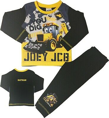 Boys JCB Digger Pyjamas Joey Pjs Can Be Personalised With Name