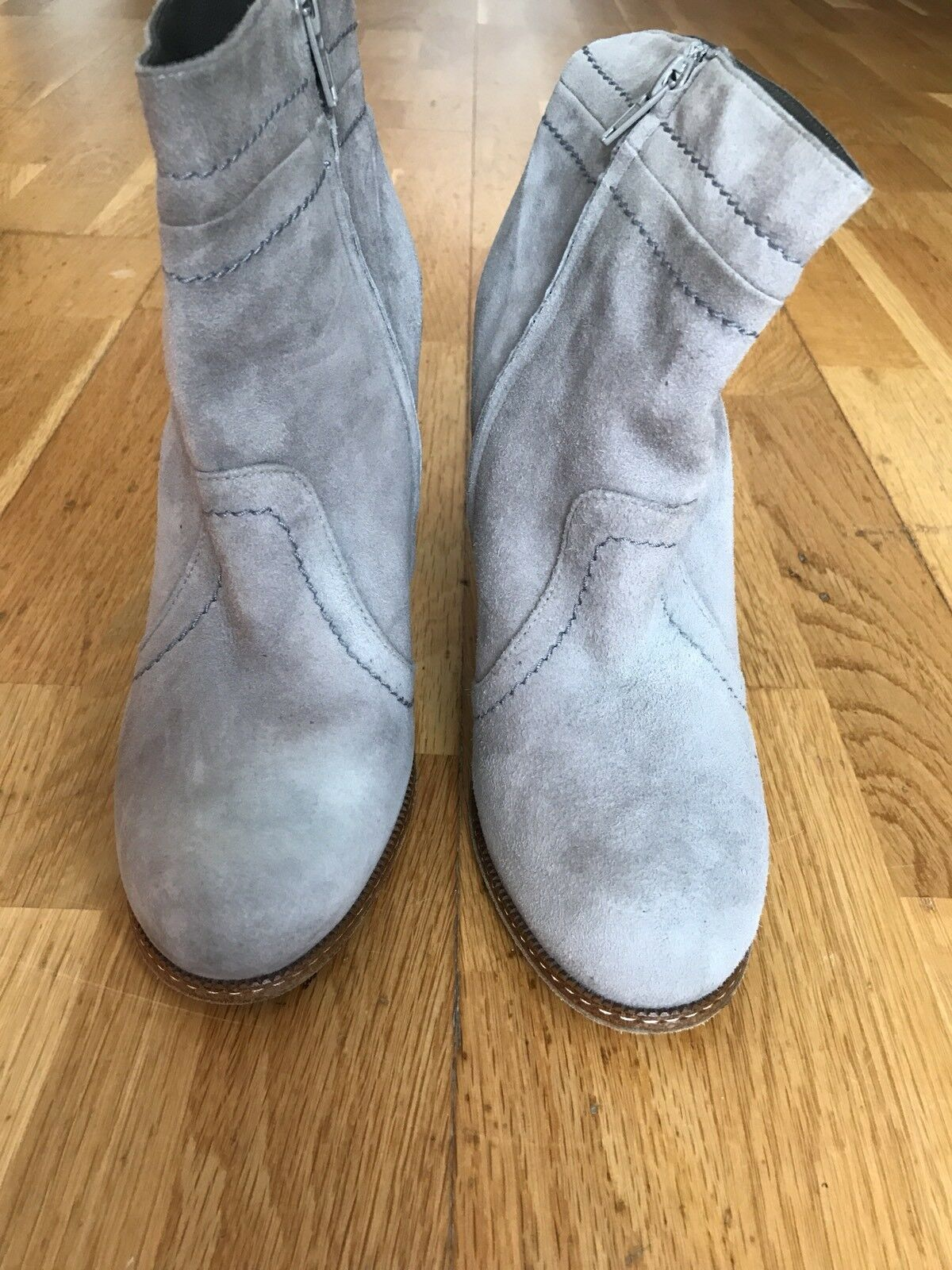 Hoss Intropia Suede High Heeled Ankle Boots, Sand, Size 38