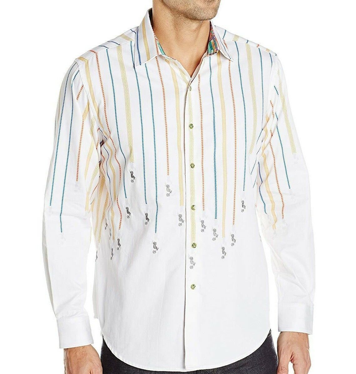 NWT ROBERT GRAHAM SzL MOTO RALLY CLASSIC FIT SPORT LONG SLEEVE SHIRT WHITE