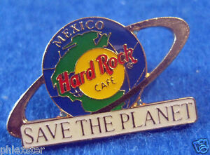 Mexico-Ville-Save-The-Planete-Terre-Globe-Saturn-Bague-Hard-Rock-Cafe-Broches