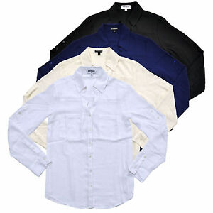 Express-Women-039-s-Portofino-Shirt-Convertible-Sleeve-Original-Fit-Button-Up-Blouse