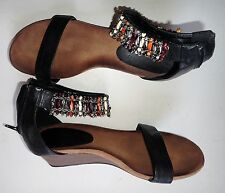 """FARASION BLACK LEATHER WEDGE SANDALS 4 BEADED ANKLE STRAP 4 LOW HEEL 1.2"""""""