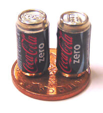 1:12 Scale 2 Empty Coca Cola Coke Drink Tins Dolls House Miniature Pub Bar Zero