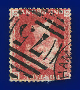 1864-SG43Wi-1d-Red-Wmk-Inv-Plate-220-GG-Birmingham-75-Good-Used-Cat-35-cnld