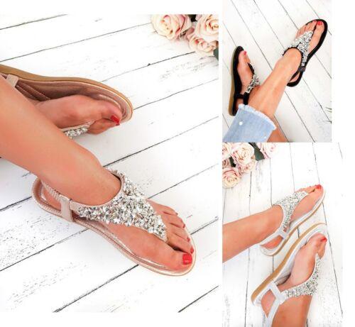 Femme Plat Compensées Plateforme Talon Strass Été Vacances Sandales Chaussures