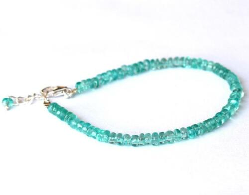 "7-8/"" Bracelet Naturel Apatite Beads Washer Solid 925 Argent #D17753"