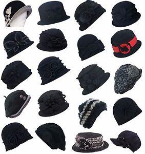 Black-Stylish-Womens-1920s-Gatsby-Winter-Wool-Beret-Beanie-Cloche-Bucket-Hat