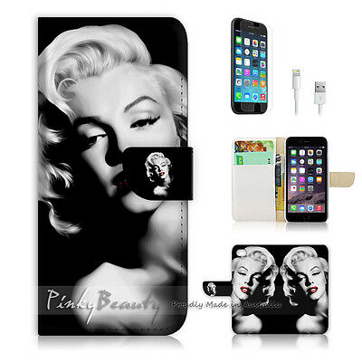 """iPhone 6 Plus (5.5"""") Print Flip Wallet Case Cover! Sexy Marilyn Monroe P0005"""