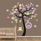 Large Owl Swing Flower Tree Wall decal Removable stickers decor art kids nursery