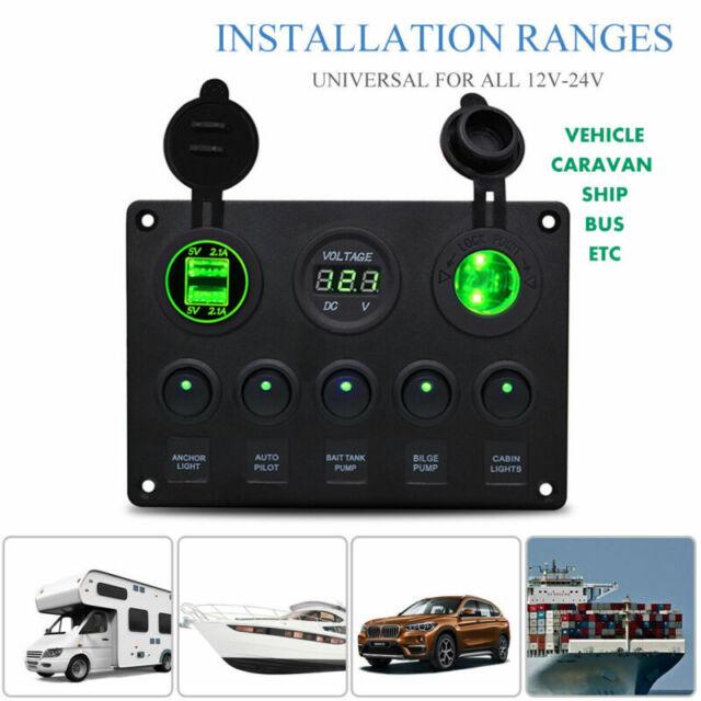 12V/24V 5 Gang Car Marine Boat LED Circuit Rocker Switch Control Pannel Breaker