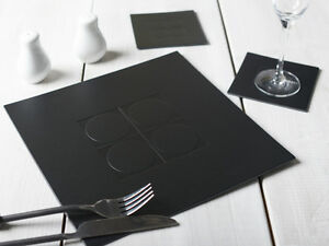 Image Is Loading Set Of 4 Black Emboss Square Leatherboard Placemats