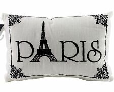 Paris Eiffel Tower French White Black Throw Accent Pillow Sofa Couch