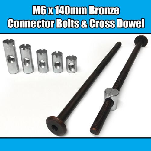 M6 x 140mm Bronze Furniture Connector Bolts Cross Dowel Barrel Nuts Fixing Unit