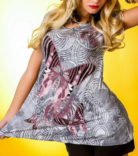 Top Damen Tunika Long Shirt Glamour Strass Butterfly Print S 34 M 36 L 38 XL 40