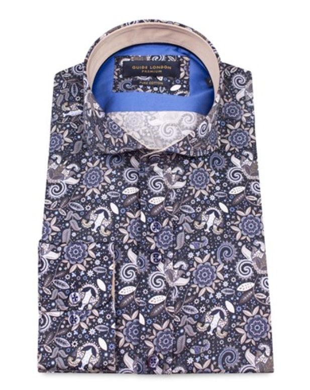 Mens Guide London Long Sleeve Shirt - Navy - Sharp Mixed Print - LS74365