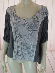 Deletta-Anthropologie-Top-S-Gray-Pullover-Viscose-Thin-Knit-Batwing-Bead-Sequins