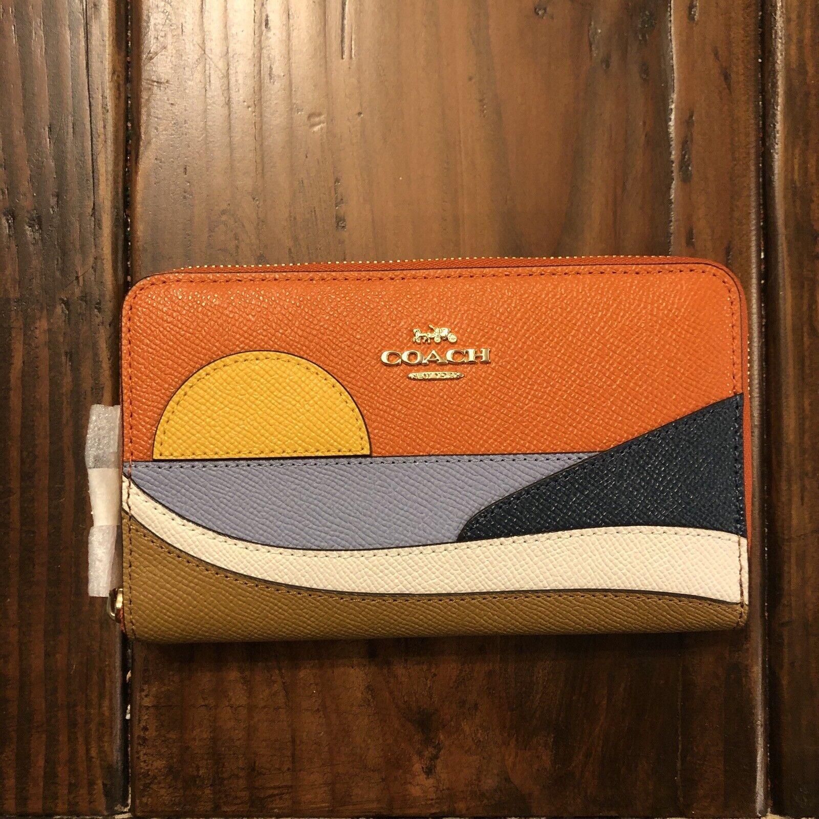 NEW Coach Beach Postcard Motif IM/Dark Orange Leather Style C4534 NWT