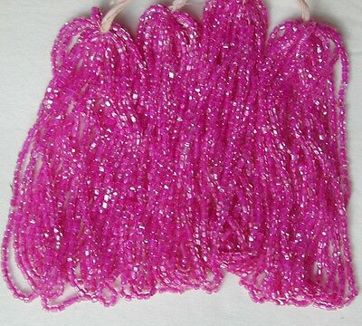 Magenta Pink Color Lined Glass 10//0 Vintage Antique Seed Beads 4 Mini Hanks Lot