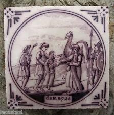 carreau en faïence manganèse 18ème delft - scène biblique - cheminée