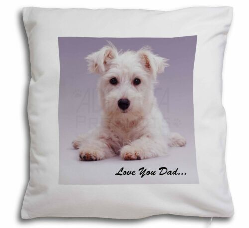 West Highland Dog 'Love You Dad' Soft Velvet Feel Cushion Cover Wit, DAD130CPW