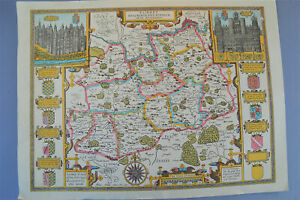 Vintage-decorative-sheet-map-of-Surrey-John-Speede-1610