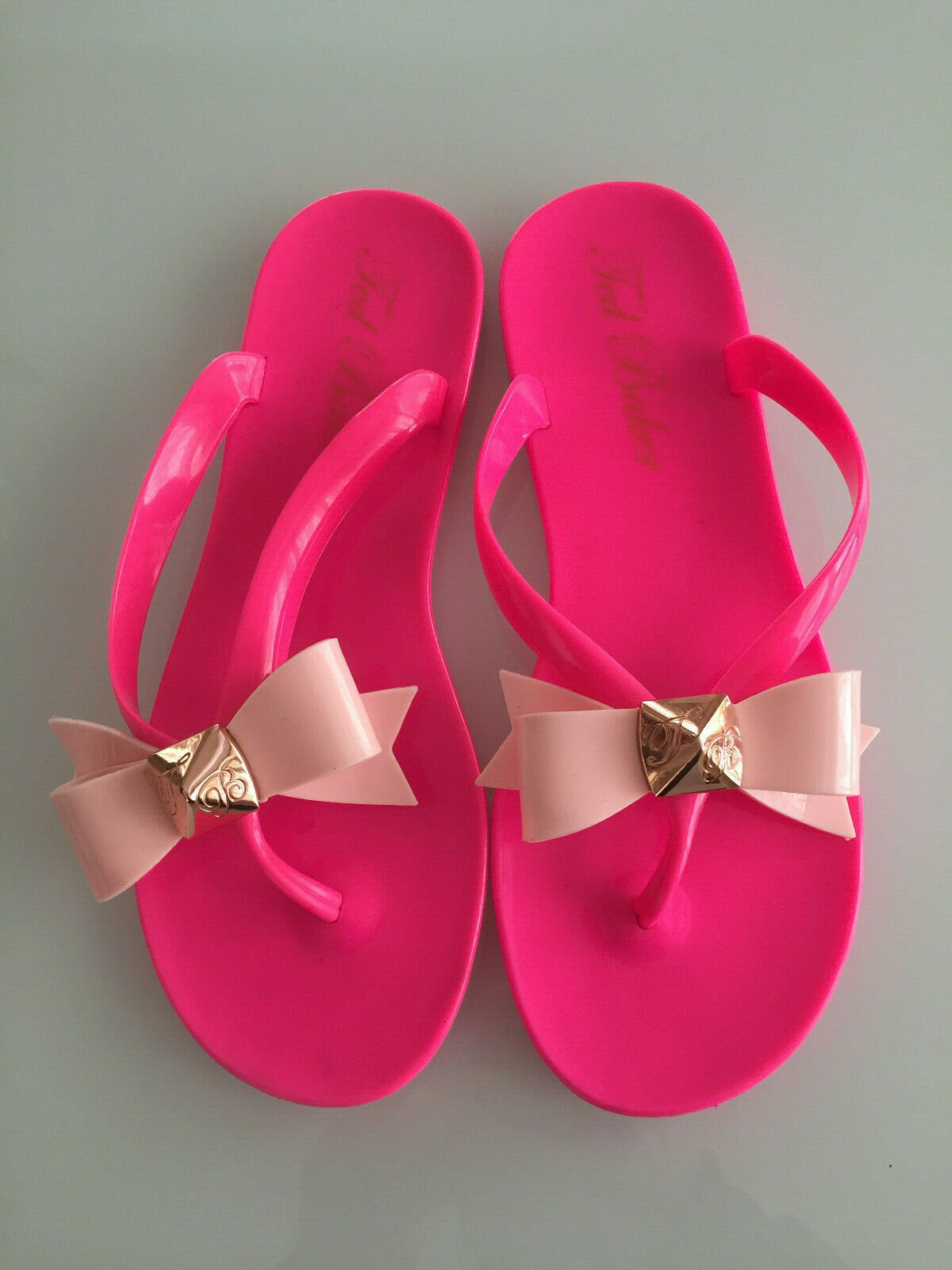 00f8bc06bab TED BAKER BRIGHT PINK BOW JELLY SANDALS SIZE UK 4 37 NEW POLEE ...