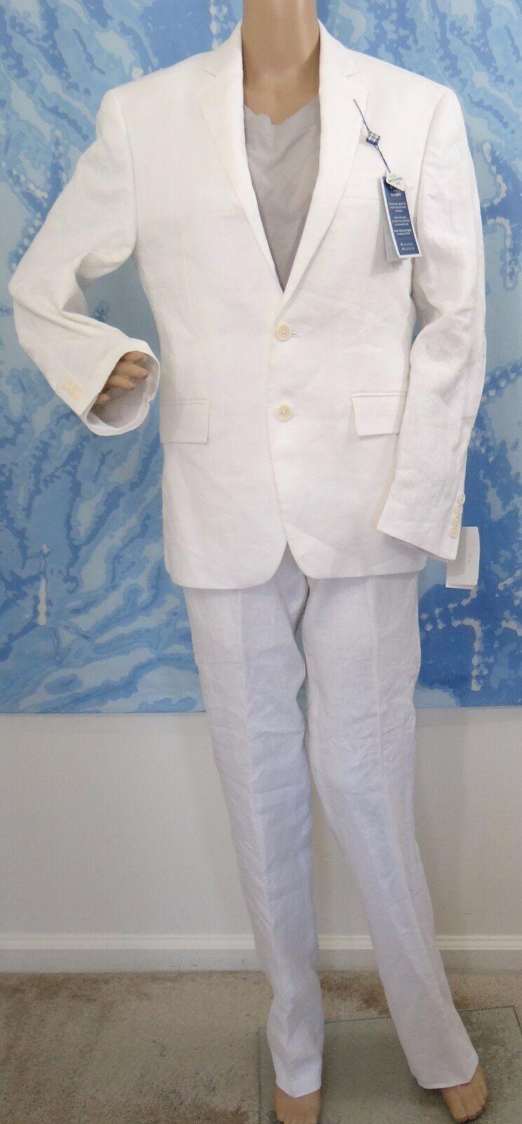 NWT Ryan Seacrest Distinction white linen Blazer & pant 2pc suit,36 SHORTx29W