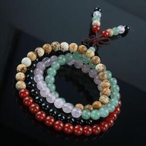 Carnelian-Agate-Rose-Quartz-108-Prayer-Beads-Mix-Gemstone-Mala-Necklace-Bracelet