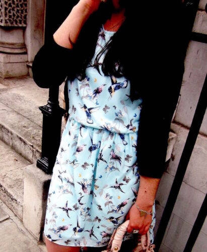 Bloggers bleus courte imprimé Robe oriental oiseaux Nouveau et à Zara 7pwd8qd