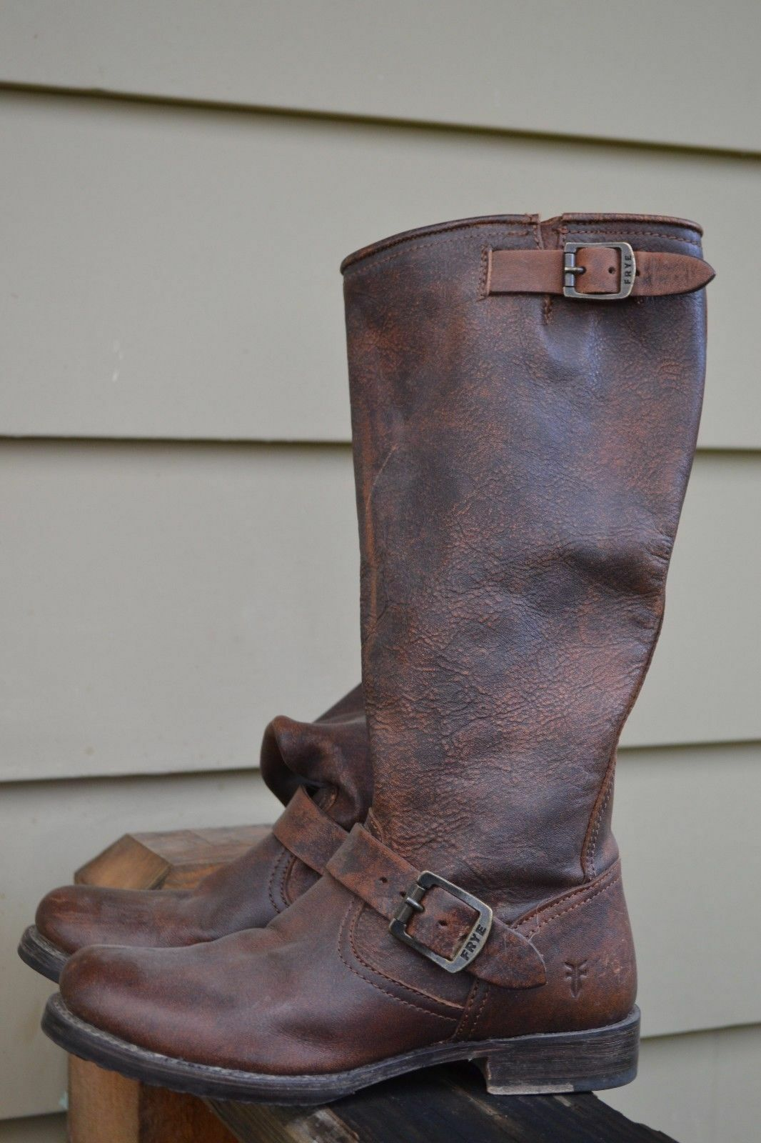 Tall Frye Veronica Slouch Dark Brown Leather Boots Women size 5.5  NU 355