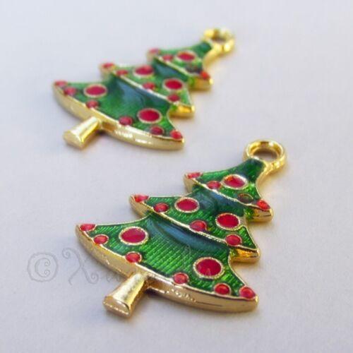 5 Or 10PCs Christmas Tree Charms 26mm Green Tree Enamel Pendants C1490RG 2