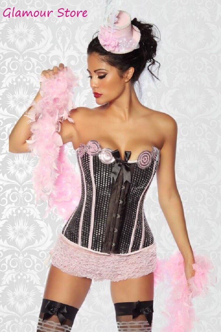 SEXY corsetto BURLESQUE PAILLETTES taglia M (42)+TANGA black pink silver bustino