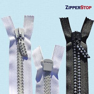"24"" Swarovski Rhinestone Zipper ~ Separating~ Black (Double Row)"