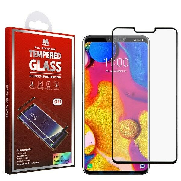 Full Coverage Tempered Glass Screen Protector/black for LG V40 ThinQ