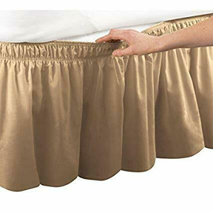 1000 TC Egyptian Cotton 1 PC Wrap Around Bed Skirt Full Size /& Solid Colors