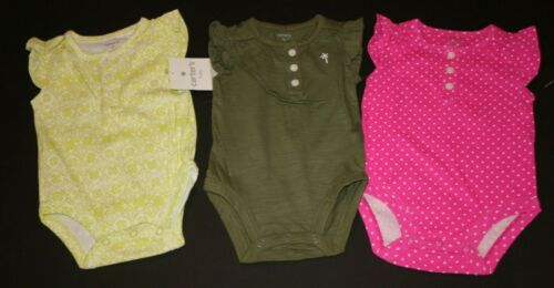 New Carter/'s Girls 3 Pack Pink /& Olive Ruffle Sleeve Summer Bodysuits Tops 3m