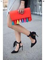 Zara Black Slingback High Heels With Bow Size 3/36bnwt