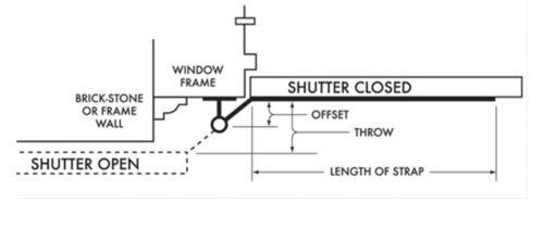 """Heavy Duty Stainless Shutter Hinge Kit .5/"""" offset hinges w// 4/"""" lag pintles"""