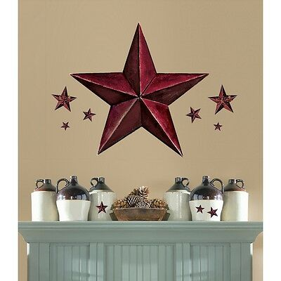"""BARNSTAR Burgundy MURAL Wall Stickers 18 Decals Red Rustic Country 33"""" Barn Star"""