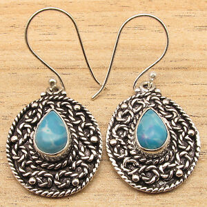 Silver-Plated-Over-Solid-Copper-Jewelry-Simulated-LARIMAR-Gemset-Earrings