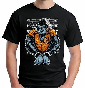 Image is loading Velocitee-Mens-Gorilla-Inmate-T-Shirt-Ape-Prisoner-