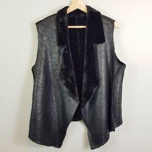 [ Faux Sherpa ] Womens Black Sleeveless Jacket    Size AU 14 or US 10