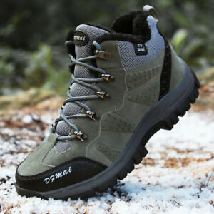a3ebe9acaeb Winter Mens Fur Lined Trail Hiking Boots Big Size Non Slip Casual ...