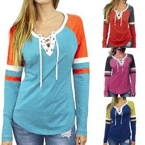 Women-V-Neck-Bandage-Blouse-Patchwork-Long-Sleeve-Loose-Tops-T-Shirt-Blouse-PA
