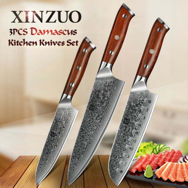 Xinzuo 3pcs Kitchen Knife Sets Professional Damascus Steel Kitchen Cooking Knife