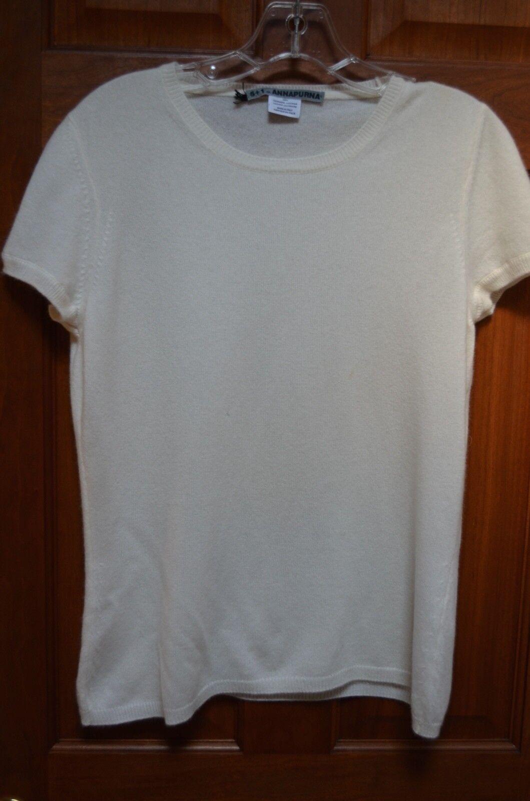 Annapurna 5+1 Women's Ivory 100% Cashmere Short Sleeve Sweater Size L